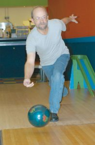 LONGTIME 10-pin bowler George Dugal, here at the Spare Time Family Fun Center in Brunswick.