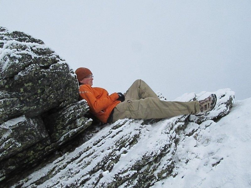Jack Brockelmanc, a junior at Windham High, takes a breather on Mt. Madison in the White Mountain National Forest during an excursion with the school's outing club.