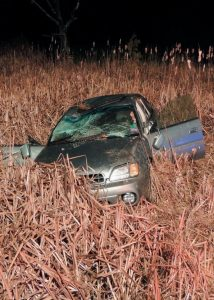 FOUR PEOPLE WERE INVOLVED and two were taken to a hospital after a one-car accident Monday night on Route 125 in Durham. The car was traveling south when it left the roadway, went airborne and landed in a pond. Police are investigating.