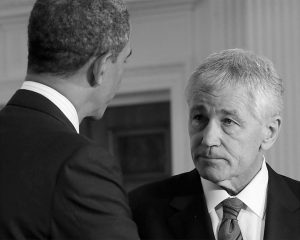 IN THIS JAN. 7, 2013, FILE PHOTO, President Barack Obama shakes hands with Defense Secretary-nominee, former Nebraska Sen. Chuck Hagel, in the East Room of the White House in Washington.
