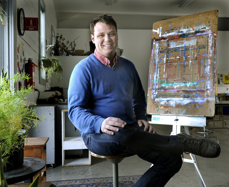 "Jeff Badger, in his studio on the SMCC campus in South Portland, has put together an exchange of work by American and Spanish artists that he hopes will foster ""meaningful, real-life connections toward a more peaceful world."""