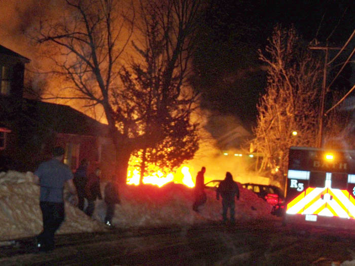 The scene shortly after a propane explosion leveled the duplex at 31-29 Bluff Road.