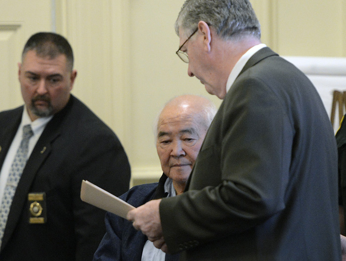 In this Dec. 31, 2012 file photo, James Pak appears in York County Superior Court to face charges of fatally shooting Derrick Thompson, 19, and Alivia Welch, 18, who were his tenants. Joel Vincent, Pak's attorney, is to his right.