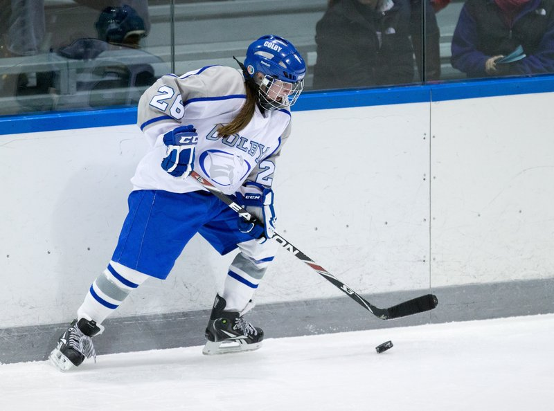 Megan Fortier decided to stay in Maine and still managed to earn a spot on the Colby College team. She plays on the Mules' top line as a freshman.