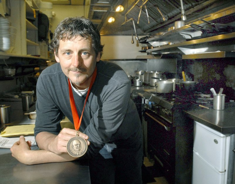 """In this 2009 file photo, Portland chef Rob Evans of Duckfat with his James Beard Award. Evans made it all the way to the final two in the Food Network show """"Chopped Champions"""" Tuesday night, only to lose the $50,000 grand prize in the dessert round to Jun Tanaka, former executive chef of Pearl Restaurant & Bar in London."""