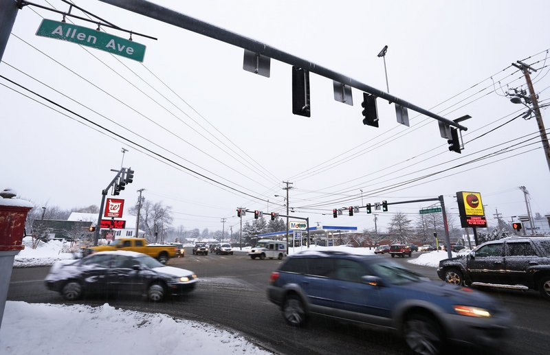 """The intersection of Allen and Washington avenues, shown in January, makes the list of top crash locations in Portland. """"We have a lot of tricky intersections and a lot of aggressive drivers,"""" said Jeremiah Bartlett, the city's transportation systems engineer."""