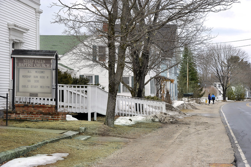 Installing sidewalks for pedestrians, such as along this stretch of Main Street, are among the changes that Steep Falls residents identified as desirable at a planning session.