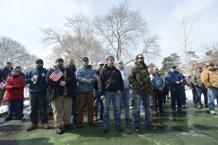 Portsmouth Naval Shipyard workers and supporters gather at Prescott Park in Portsmouth, N.H., Thursday to protest sequestration that will force them to take off one unpaid day each week from April through September.