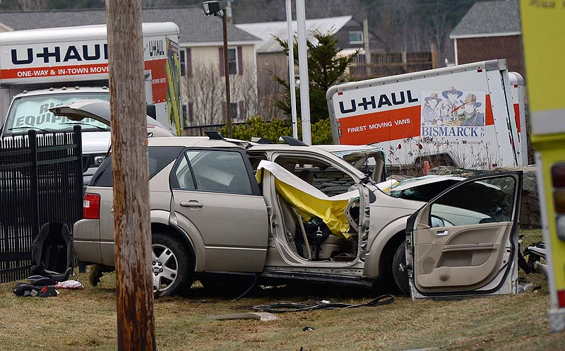 One of the vehicles involved in a fatal crash on Route 4 in Berwick on Wednesday.