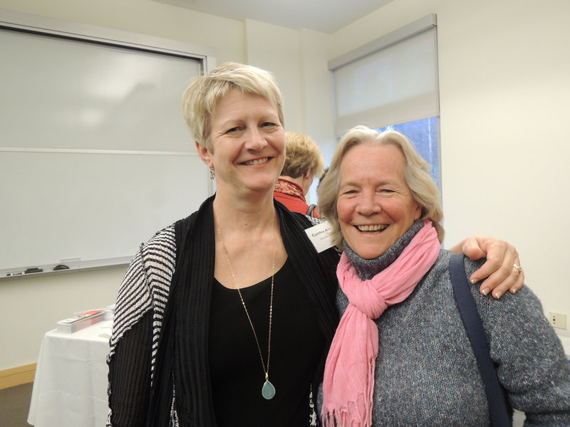 Cynthia Arn, an immigration attorney and former ILAP board member, and Leslie Merrill, who works with Congresswoman Chellie Pingree on immigration casework