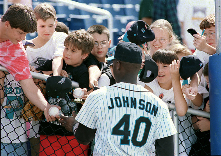 Young Sea Dog fans swarm to Charles Johnson for his autograph on 7/14/94 at Hadlock Field. photo by John Patriquin Baseball