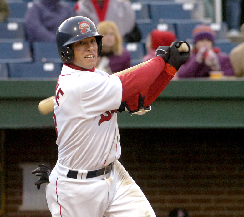 Staff photo by John Patriquin. Monday, April, 9, 2007. Portland Sea Dogs #3 Jed Lowrie hits a single during action at the Portland Sea Dogs season opener against New Britain Rock Cats at Hadlock Field in Portland. Baseball