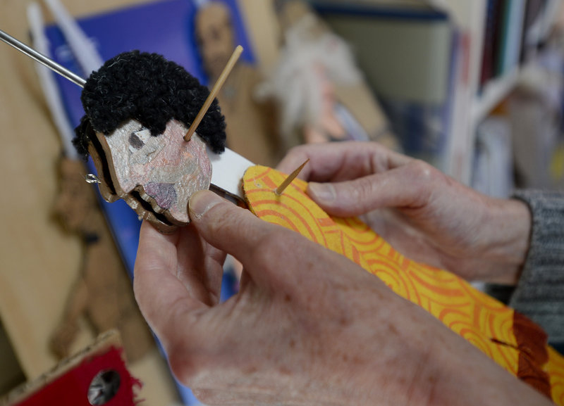 Goell makes puppets in her home studio on Peaks Island, and is collaborating with others on a new show that she hopes will debut next month.