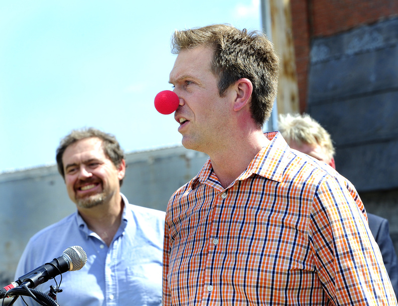 Peter Nielsen, president of the Circus Conservatory of America, left, joins developer Chris Thompson. The school's uniqueness will be well worth the wait, Thompson said.