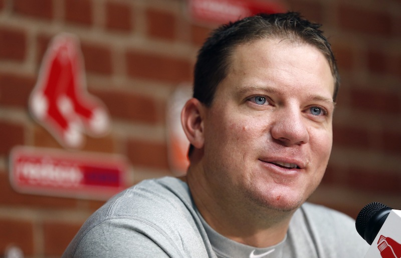 Boston Red Sox's Jake Peavy speaks during a news conference before a baseball game against the Seattle Mariners in Boston, Thursday, Aug. 1, 2013. (AP Photo/Michael Dwyer)