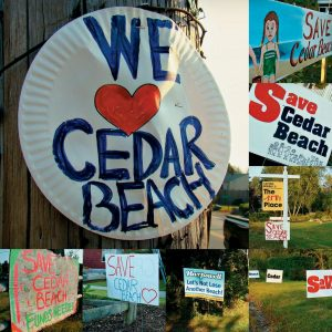SIGNS OF COMMUNITY SUPPORT for Cedar Beach are cropping up along Route 24 in Harpswell. Beach season may be drawing to a close, but efforts to re-establish public access to the beach show no signs of flagging on Bailey Island.