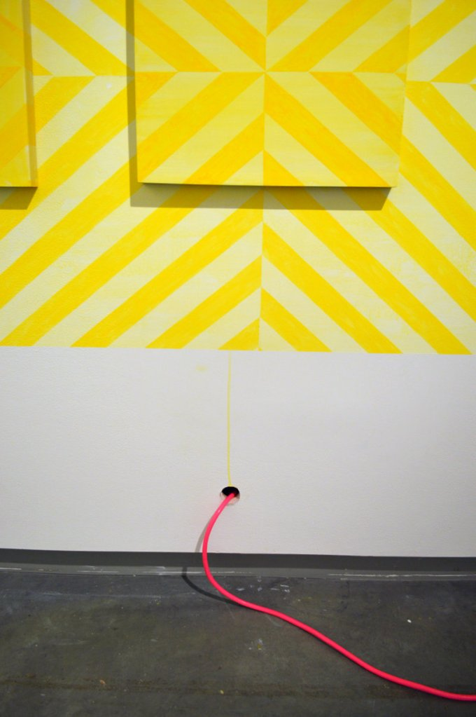 Detail of one of Hannah Barnes' wall installation paintings.