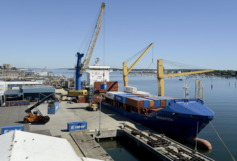 The steamship line Eimskip loads containers on a ship at the International Marine Terminal in Portland last week. The company's routes connect to ports in Canada and Europe.