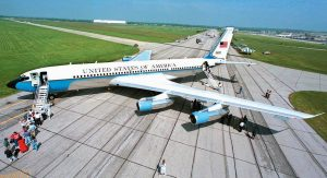IN THIS MAY 20, 1998 file photo, officials line up to tour Special Air Mission 26000, known as Air Force One when the president is aboard, after the historic plane made its final landing at Wright-Patterson Air Force Base in Dayton, Ohio. The Boeing jetliner on which Lyndon B. Johnson took the oath of office is in a hangar away from the National Museum of the U.S. Air Force near Dayton. Federal budget cuts had halted shuttle buses to the hangar. But with the 50th anniversary of President John F. Kennedy's assassination approaching, museum officials decided they had enough resources to resume the tours on a trimmed-down schedule.