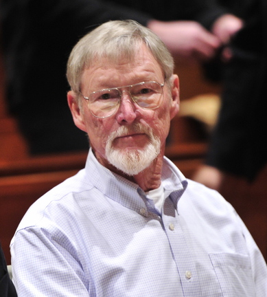 """Merrill """"Mike"""" Kimball of Yarmouth is arraigned in Cumberland County Unified Criminal Court on Thursday in the shooting death of Leon Kelley of Georgetown."""