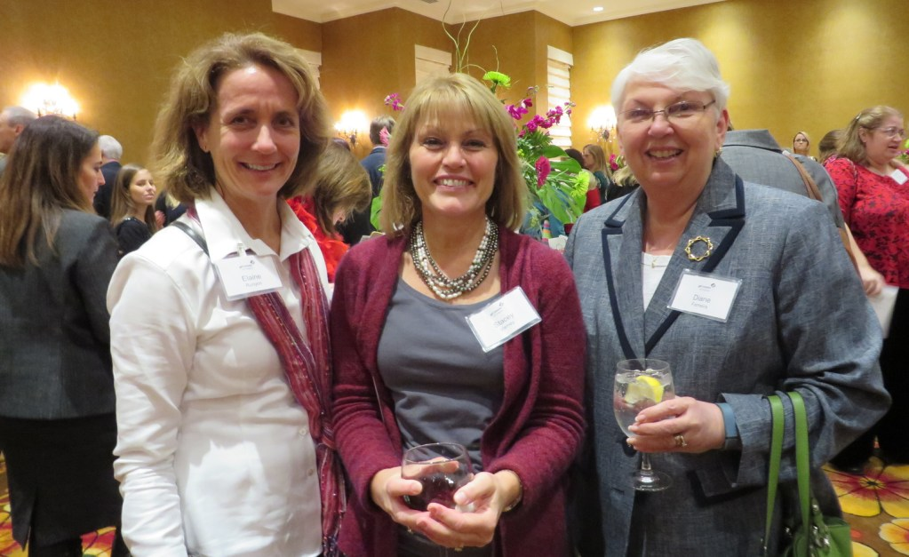 Fundraising committee member Elaine Runyon of New Gloucester, left, with Stacey Varney of sponsor Gen Re and Diane Ferreira of Cape Elizabeth.
