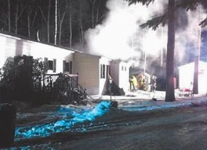 A FIRE destroyed a mobile home on Starboard Lane on Christmas Eve.