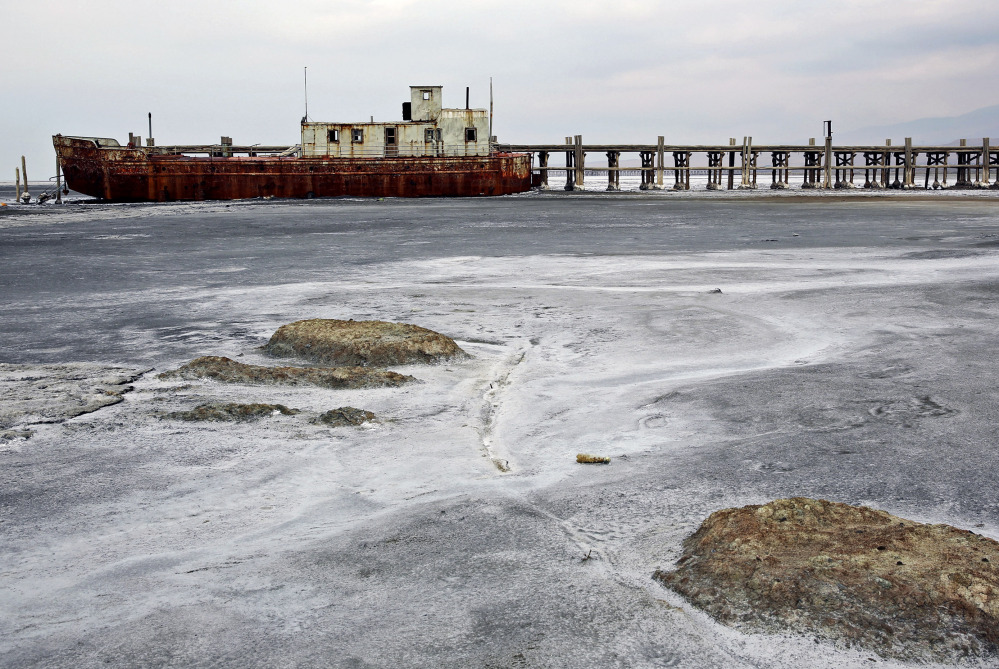 An abandoned ship is stuck in solidified salt at Lake Oroumieh in Iran. One of the biggest saltwater lakes on Earth, it has shrunk more than 80 percent in the past decade because of climate change, expanded irrigation for farms and the damming of rivers, experts say.