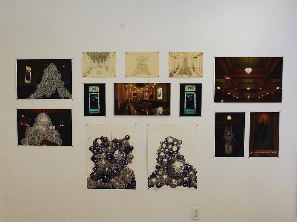Bouchard's installation at the Portland Masonic Temple will include photographs of the temple's space, ritual objects, Masonic symbols and a range of drawings and collages.