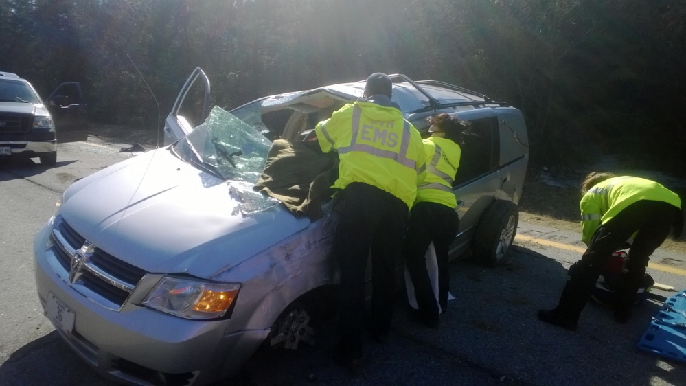 Hearse crashes, flips on I-95 in Maine after driver falls