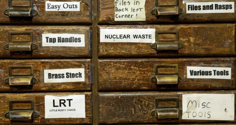 "Labels such as ""nuclear waste"" and ""Little Rusty Things"" on drawers at the Liberty Tool Co. store in Liberty reveal Skip Brack's sense of humor."