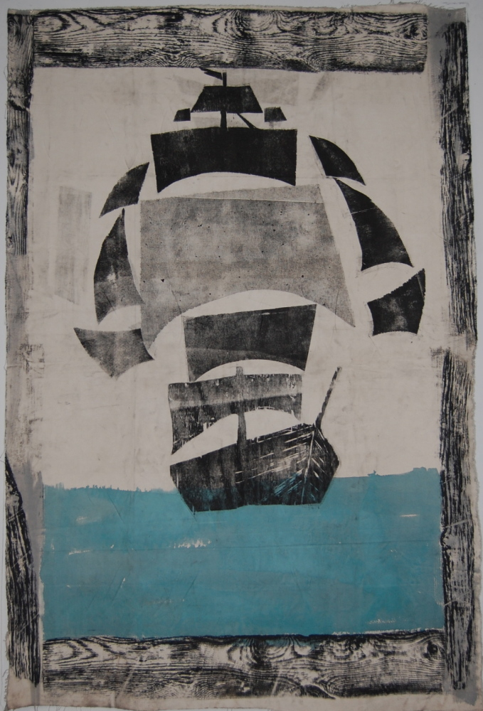 """Christopher Patch, """"Black Barnacle,"""" woodblock print"""