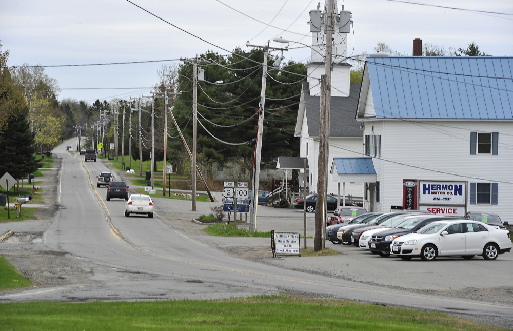 Traffic heads east out of Hermon, where Paul LePage won 52 percent of the vote in a three-way race for governor in 2010.