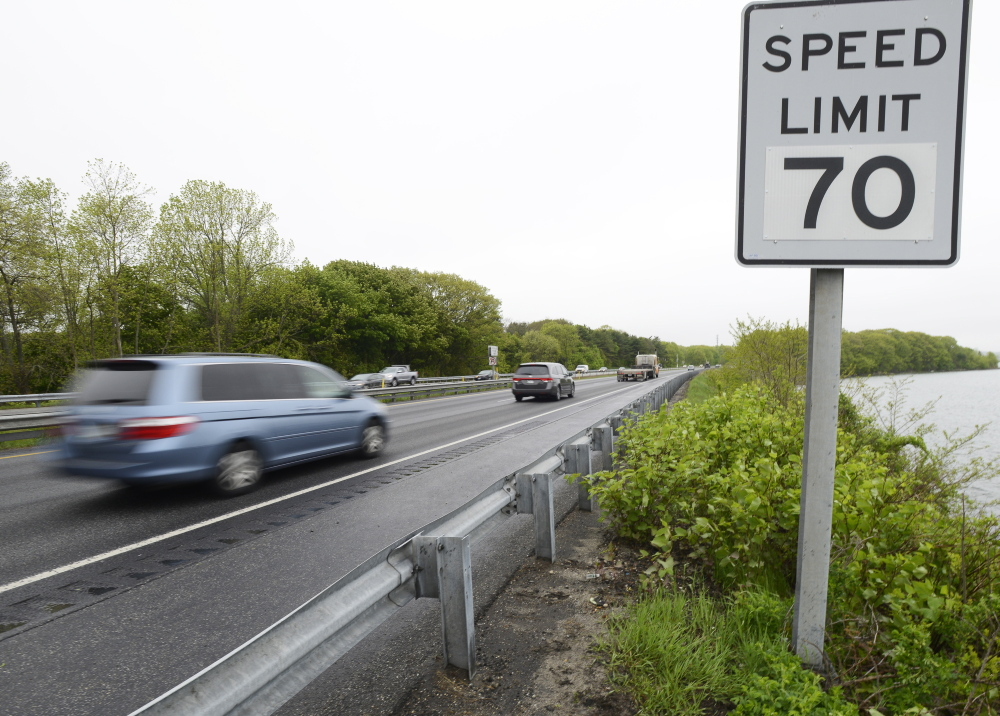 A new 70-mph speed limit sign is posted on the northbound side of I-295 after Tukey's Bridge in Portland.