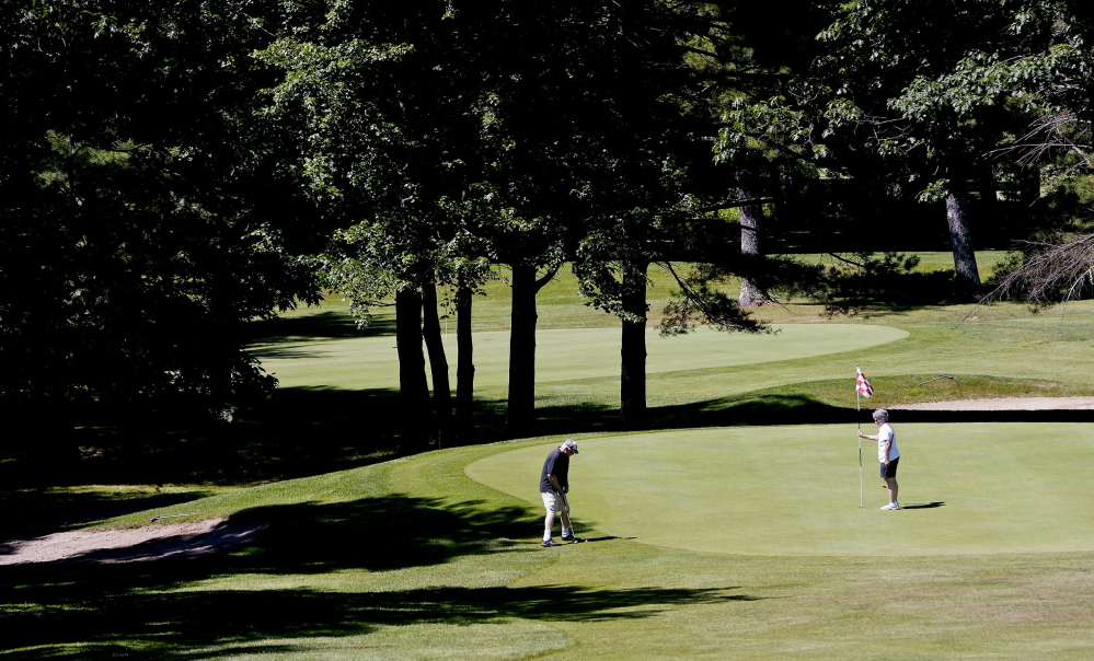 The seventh hole at Dutch Elm, along with the eighth, is one of the back-to-back par 3s on the front side. There also are back-to-back par 3s on the 11th and 12th holes.