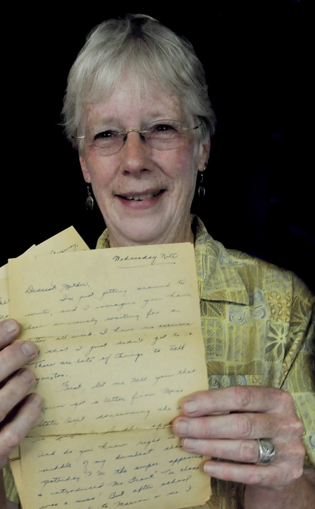 Ann MacMichael of Cornville holds a letter that took more than eight decades to arrive. It was likely stuck in a postal sorting machine.