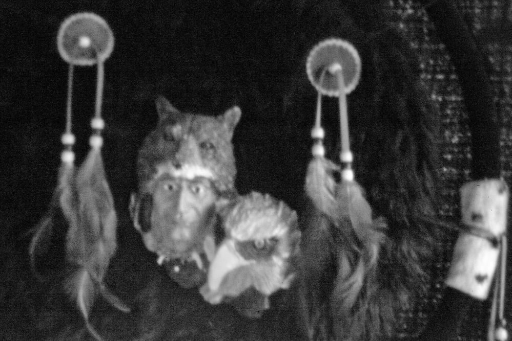 This tribal decoration, captured by a pinhole camera, was made for Victoria Boston, of Indian Township, in honor of her son. By 1967, tribal attorney Don Gellers had begun to make some headway in his research on the Passamaquoddy land claims.
