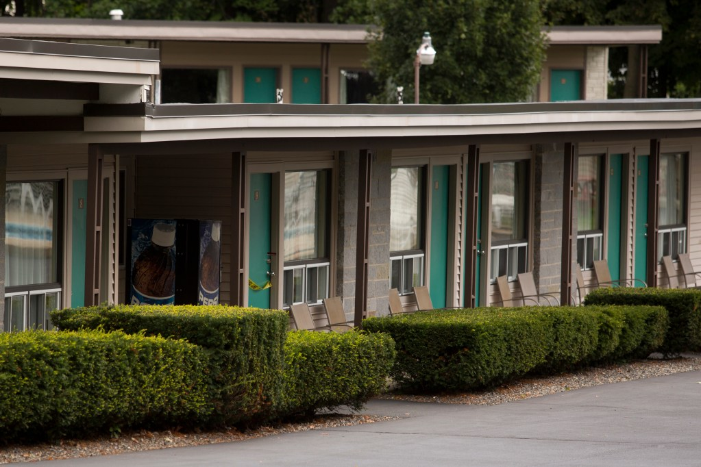 The Sleepy Hollow Motel in Biddeford was closed Wednesday after police recovered two bodies from Room 9 on Tuesday night. Gabe Souza / Staff Photographer