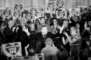 FORMER BRITISH PRIME MINISTER and No campaigner for the Scottish independence referendum Gordon Brown, center, gestures at the end of his speech in Glasgow, Scotland, Wednesday, Sept. 17. Will the ayes have it, or will Scotland say naw thanks? No one is certain. Excitement and anxiety mounted across the country Wednesday, the final day of campaigning before Thursday's referendum on independence. With opinion polls suggesting the result is too close to call and turnout expected to reach record levels, supporters of separation feel they are within touching distance of victory — but wonder whether their surge in the polls will be enough.