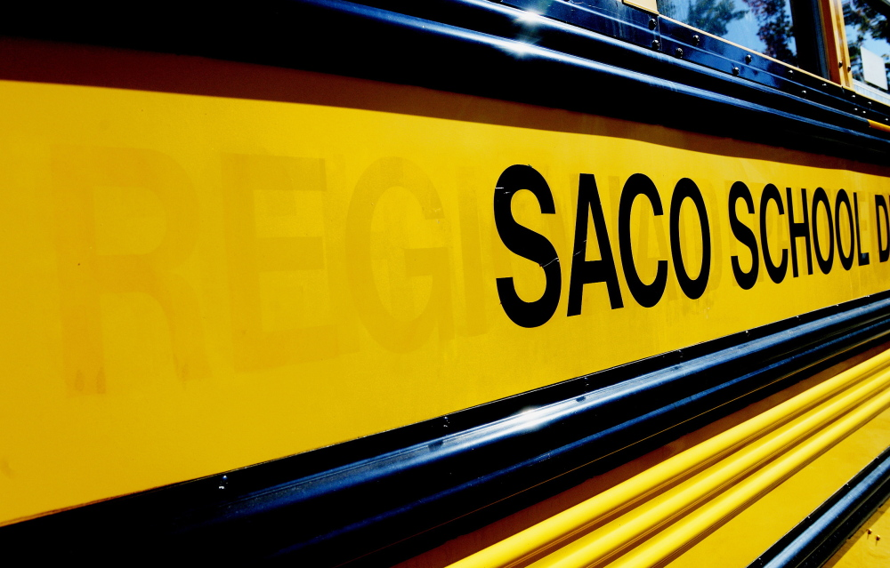 The markings for Regional School Unit 23 still can be seen on a Saco school bus. Saco and Dayton each decided to go it alone, leaving Old Orchard Beach the sole member of RSU 23, a misnomer and reminder of failed consolidation.