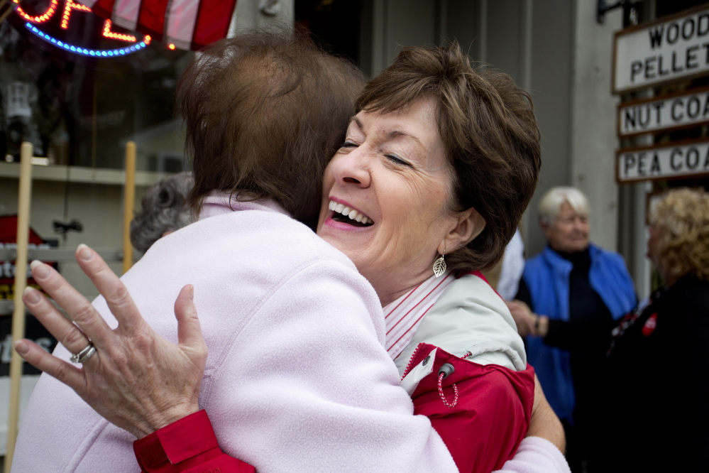 Sen. Susan Collins, R-Maine, hugs Judy Howe while campaigning on Main Street in Yarmouth. It was clear during Collins' recent swing through Gray, Yarmouth and North Yarmouth that many Mainers know her.