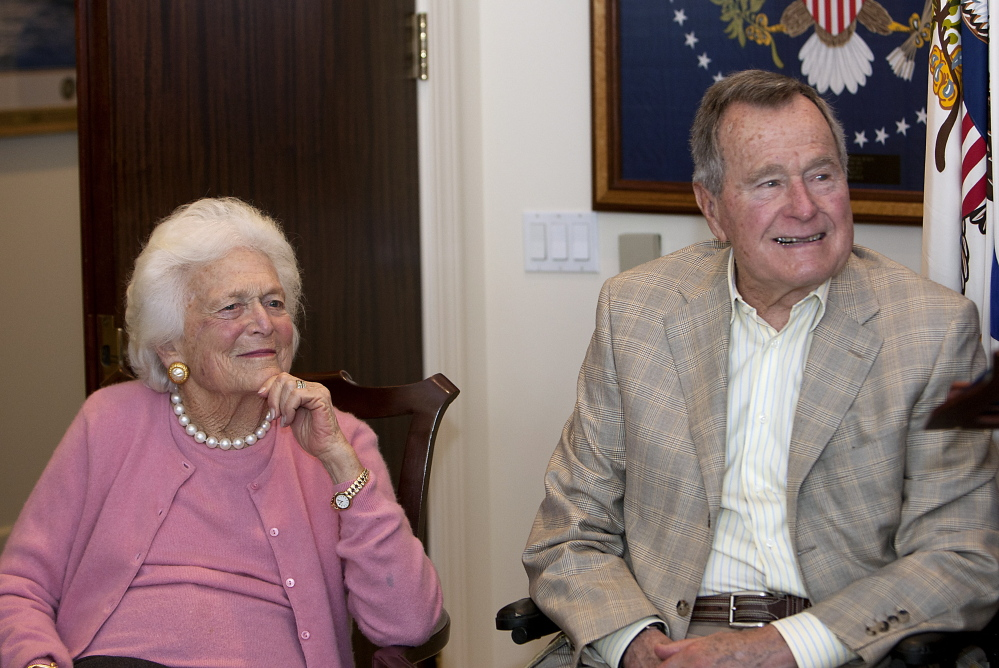 Former first Lady Barbara Bush and former President George H. W. Bush announced their support for Maine Gov. Paul LePage's re-election bid Wednesday.