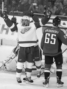 DETROIT RED WINGS left wing Justin Abdelkader, left, celebrates his goal as Washington Capitals left wing Andre Burakovsky (65) stands nearby, in the third period of an NHL hockey game on Wednesday, Oct. 29, 2014, in Washington. Abdelkader had two goals in the third period. The Red Wings won 4-2.