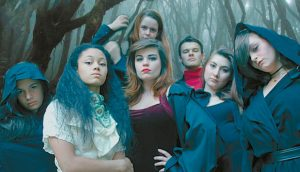 DRACULA and his harem of undead wives: Front: Arianna Wells, Alizhay Gagnon, Tori Murphy, Emma Suitor, Abby Post. Back, Becky Homan, Paden Stanton.