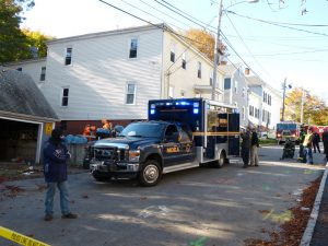 Maine Drug Enforcement agents and local police arrest two people and dismantle two small methamphetamine laboratories found in an upstairs apartment at 50 Elm St. Friday morning in Bath. DARCIE MOORE/THE TIMES RECORD