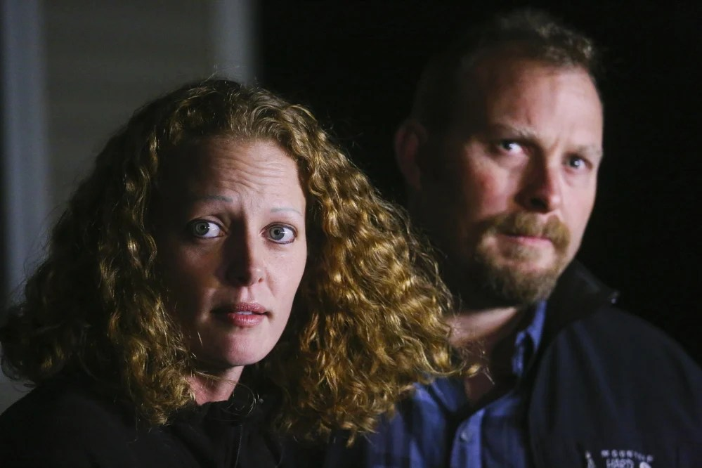 Kaci Hickox and Ted Wilbur talk to the press regarding Maine's quarantine policy in October.