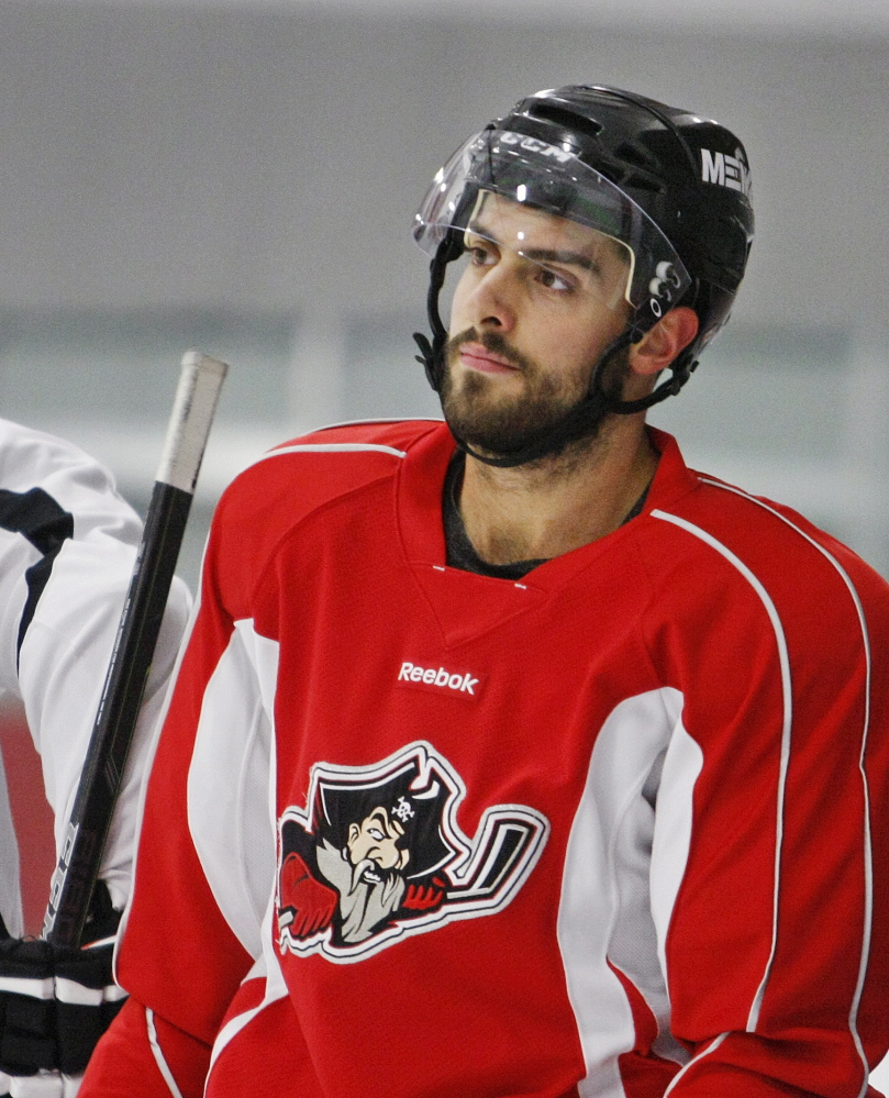 """Lucas Lessio has """"NHL speed,"""" according to linemate Brendan Shinnimin. """"When he gets the puck on the wall, he's pretty tough to contain."""" Lessio, a left wing, started last season in the NHL with the Coyotes, but was sent to Portland after playing just three games."""