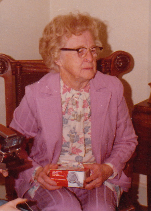 """""""Grammy"""" Stella Dearborn of Cape Elizabeth never allowed pictures to be taken of her gardening because she wore blue jeans to garden."""