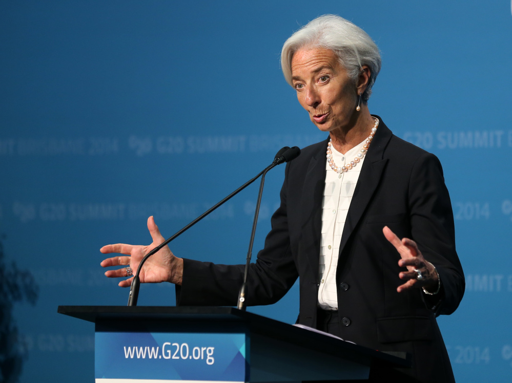Managing Director of the IMF Madame Christine Lagarde addresses a press conference at the conclusion of the G-20 summit in Brisbane, Australia, on Sunday.