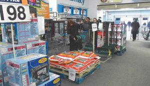 WALMART IN BRUNSWICK was busy on Monday morning as people prepared for Tuesday's storm.