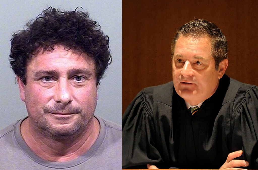 Anthony J. Sineni III, 52, of Standish, left, and Judge Jeffrey Moskowitz, the deputy chief of Maine's district court.